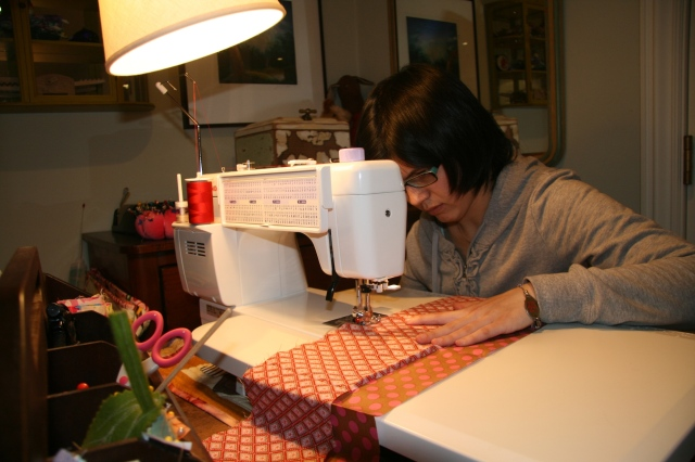 Alicia sewing
