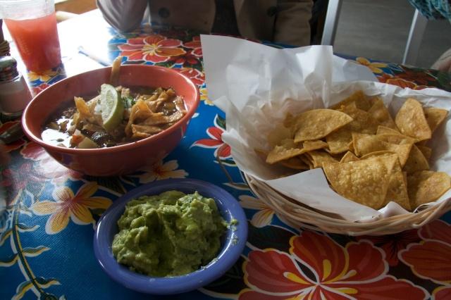 Albondingas soup, Mijita, Chips, Guacamole