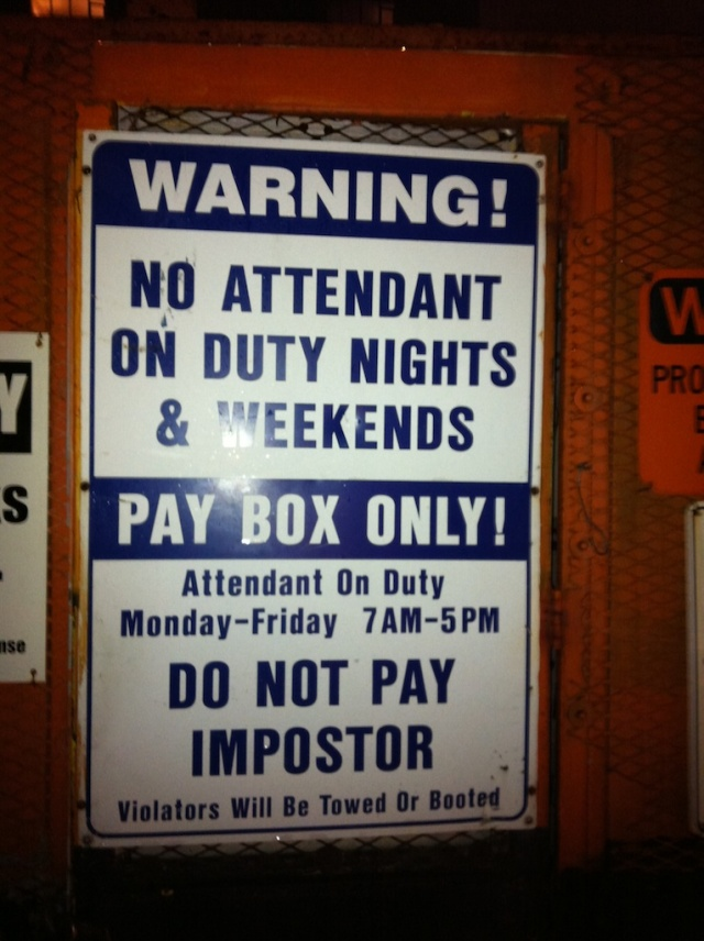 Do not pay imposter, signs, parking in SF