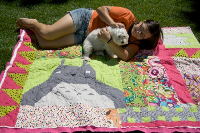 Vicky and Schnap on the Quilt