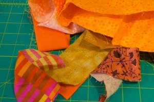 Orange colored scraps