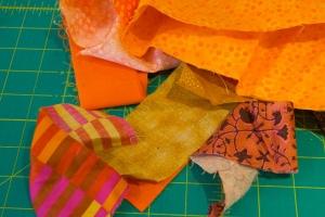Orange colored scraps