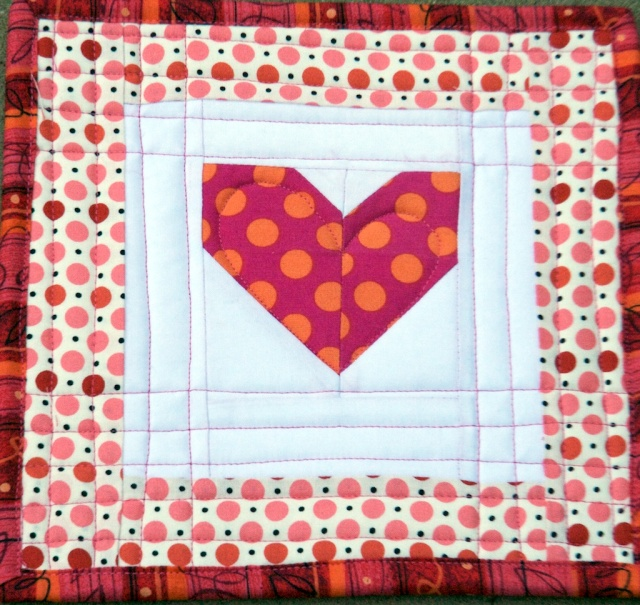 Improvisational Heart Quilt Block