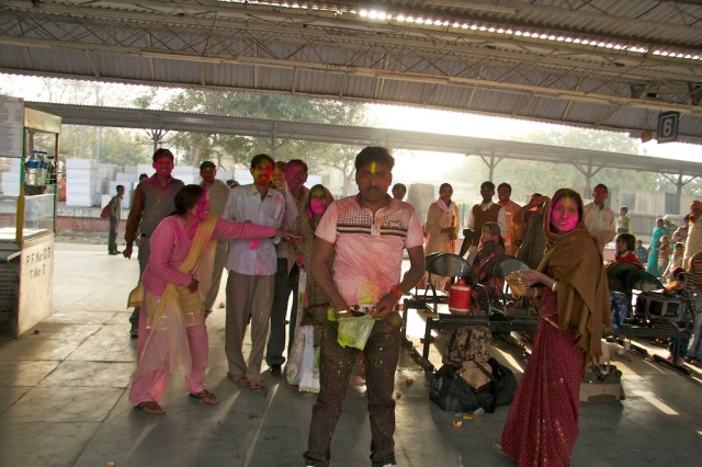 Holi at Agra Train Station