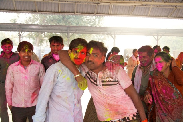 Holi at the Agra Train station