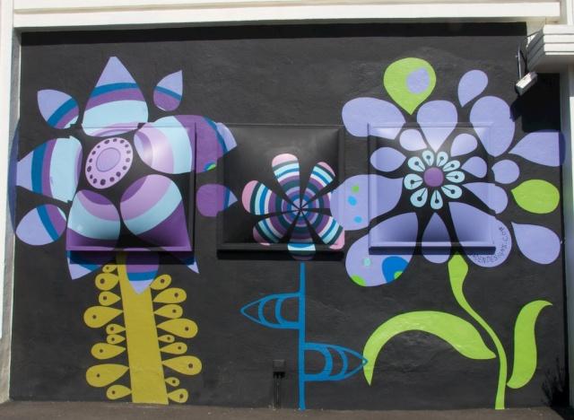 Purple Flower mural Hayes Street