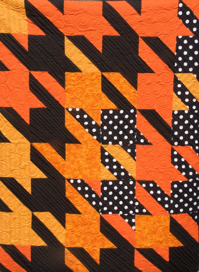 Orange and Black Houndstooth Quilt