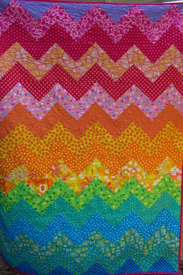 Piecedgoods Rainbow Ziggy Quilt